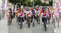 Kieko Fujimori realiza bicicleteada tras retraso de su vuelto a Lima.