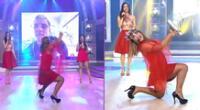 La Tacacha resbaló mientras bailaba al ritmo de 'Juana la Cubana' y así reaccionó.
