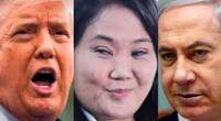 El expresidente de EE.UU. Donald Trump, la lideresa de Fuerza Popular Keiko Fujimori, y el saliente ministro de Israel Benjamín Netanyahu.