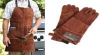 Mandil y guantes para protegerse de las altas temperaturas de la parrilla.