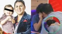 El cantante Néstor Villanueva fue sorprendido con su pequeño Adriano en Mujeres al mando, y no pudo evitar derramar lágrimas.