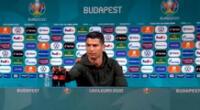 Cristiano Ronaldo retiró dos botellas de Coca Cola en plena conferencia de prensa en Budapest.