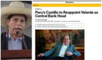 Bloomberg: Castillo dio su medida más favorable al mercado al ratificar permanencia de Velarde.