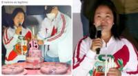 """Keiko Fujimori prendió una vela en un mitin, pero los usuarios la trolearon asegurando que ya tiene su torta para su """"quino""""."""