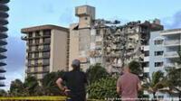 El colapso parcial de las Torres Champlain Sur, la estructura se derrumbó en la mañana del 24 de junio de 2021 en Miami, Florida. Foto: AFP