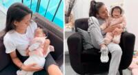 Samahara Lobatón angustiada por la salud de su bebé y de ella.