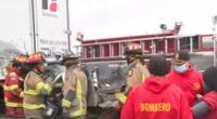 El conductor quedó atrapado durante quíntuple choque de vehículos a la altura del Puente Alipio.