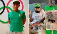 Don Hermilio Pérez tiene un puestito de cinturones, carteras entre otros objetos en la calle.