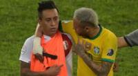 Christian Cueva y Neymar se abrazaron luego del partido en Copa América 2021.