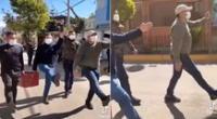 Peculiar video de la singular marcha se hizo viral en las redes sociales.