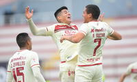 Festejan Alfageme y Zevallos con Alexander Succar autor del tercer gol de la 'U' en la victoria 3-1 ante Cienciano.