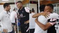 Mbappé dio fraternal abrazo a Messi en su primer entrenamiento con el PSG.