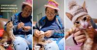 Lo más lindo. Abuela consentidora tejió lindo sombrero a su gatito para que no pase frío.