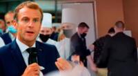 Emmanuel Macron: su seguridad esposó al culpable de arrojar el huevo.