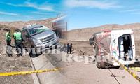 Bus chocó contra una miniván y un auto en plena carretera
