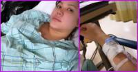 Lesly Castillo en proceso de parto.