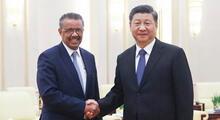 Director OMS Tedros Adhanom Ghebreyesus y el presidente de China Xi Jinping.