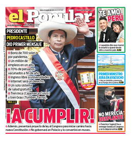 Portada del diario El Popular, Lima 29 de julio