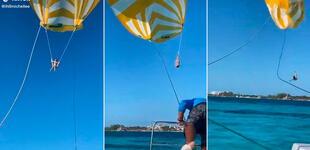 Joven se lanzó en parapente, pero mala maniobra la hace estrellarse en el mar [VIDEO]