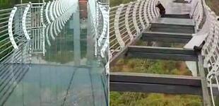 ¡Aterrador! Turista queda atrapado en puente de vidrio, tras ser destruido por fuertes vientos