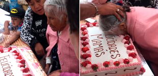 Adulta mayor recibe 'pastelazo' por el Día de las Madres y su reacción es viral [VIDEO]