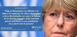 """ONU Derechos Humanos: Bachelet pide calma para evitar """"mayor fractura social"""" tras las elecciones de Perú"""