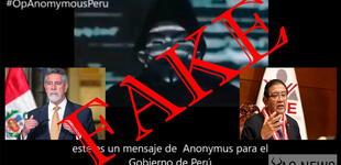 Video de Anonymous amenazando al presidente Sagasti y al JNE sería falso [VIDEO]