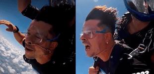 """Mario Hart salta en paracaídas y casi pierde cadena de oro: """"Iba a ser el salto más caro de mi vida"""" [VIDEO]"""