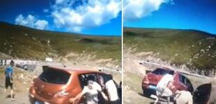 Detienen su auto para contemplar el paisaje y casi acaban en el fondo de un acantilado [VIDEO]