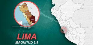 Temblor de magnitud 3.9 se registró en Lima esta tarde, según IGP