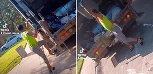 Recolector de basura trabaja en tacones y la rompe en TikTok con sus pasos de baile [VIDEO]