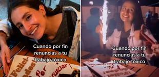 """Renuncia a su trabajo """"tóxico"""" y celebra su salida junto a su familia con pastel incluido [VIDEO]"""