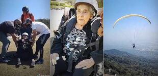 Mujer de 94 años superó la COVID-19 y está feliz por celebrar su cumpleaños volando en parapente [VIDEO]