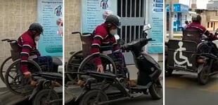 Peruano crea una moto para utilizarla con silla de ruedas y su ingenio genera admiración en las redes
