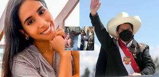 Señora da con palo a Melissa Paredes y dice que le cree más a Pedro Castillo que a ella [VIDEO]