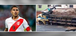 Paolo Guerrero: Volquete se hunde frente a la casa de Doña Peta en Chorrillos [VIDEO]