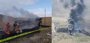 Arequipa: chofer muere calcinado tras incendiarse cisterna de combustible