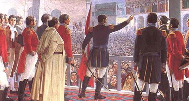El 28 de julio de 1821, a cargo de 4.500 hombres, logra ingresar a Lima y Proclamar la independencia del Perú.