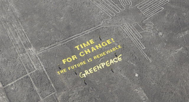 Activista de Greenpeace llegaron hasta las líneas de Nazca para enviar un mensaje a la COP 20.
