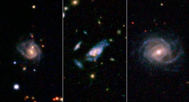 Ejemplo de tres galaxias súper espirales.