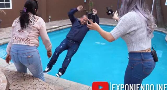 Empujó a su novio a la piscina tras descubrir que le era infiel