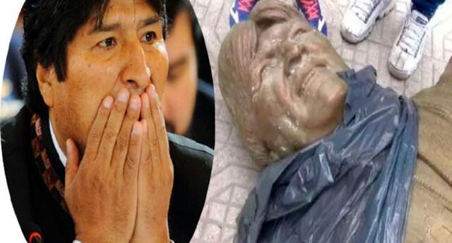 La estatua de Evo Morales estaba ubicada en el municipio de Cochabamba