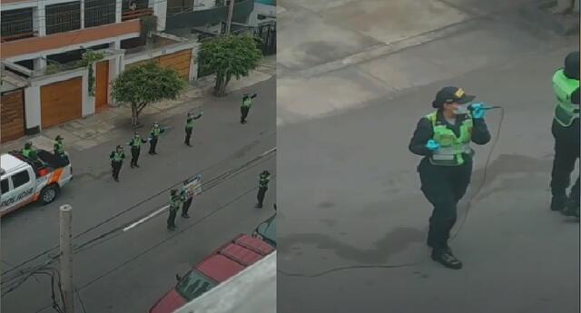 Un grupo de policías sorprendieron a vecinos con peculiar canción para concientizar sobre el peligro del coronavirus.