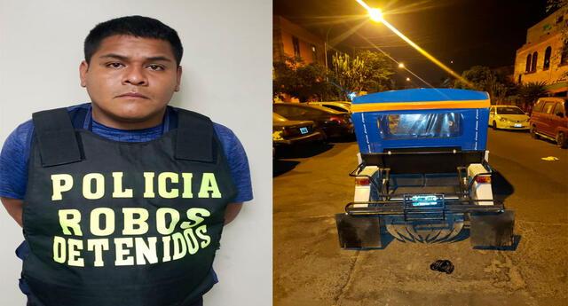 El detenido y el vehículo que usó para huir