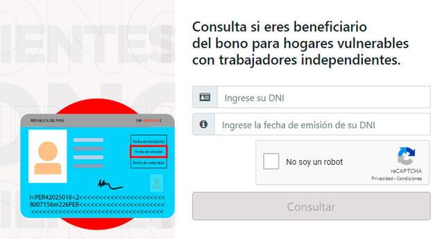 Deberás ingresar a la página bonoindependiente.pe para verificar si eres beneficiario.