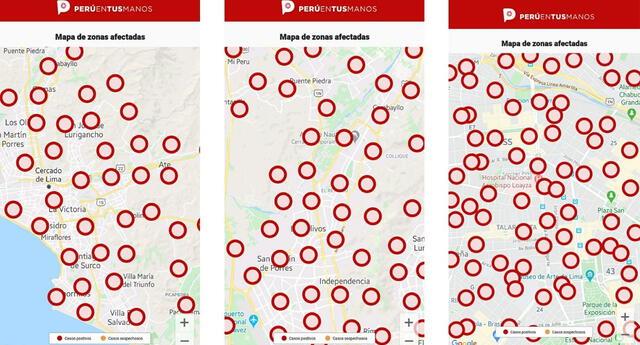 CORONAVIRUS: mapa del calor PERÚ EN TUS MANOS