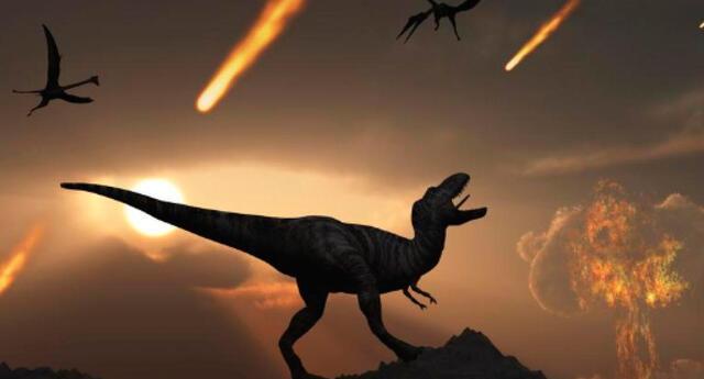 Imagen ilustrativa de la extinción de los dinosaurios.
