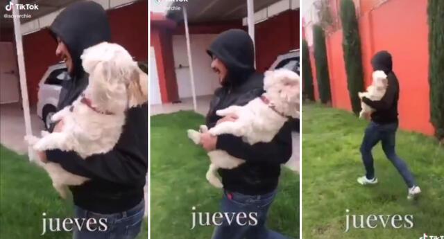 La joven entrenó a su mascota para que ladrara por ayuda.