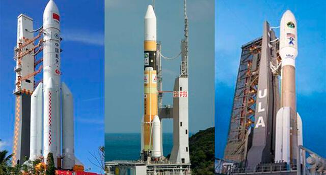 De izquierda a derecha: cohetes que lanzarán naves de China, Emiratos Árabes y Estados Unidos (NASA).