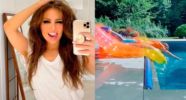 La cantante Thalía quería demostrarle su habilidad para ingresar a la piscina, pero un mal movimiento le jugó una mala pasada.
